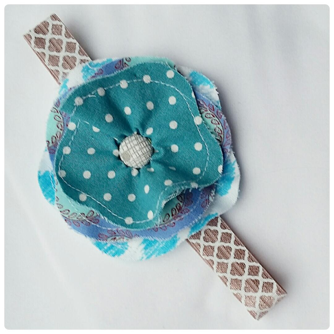 Blue And Taupe Handmade Flower Headband Nb To 6m