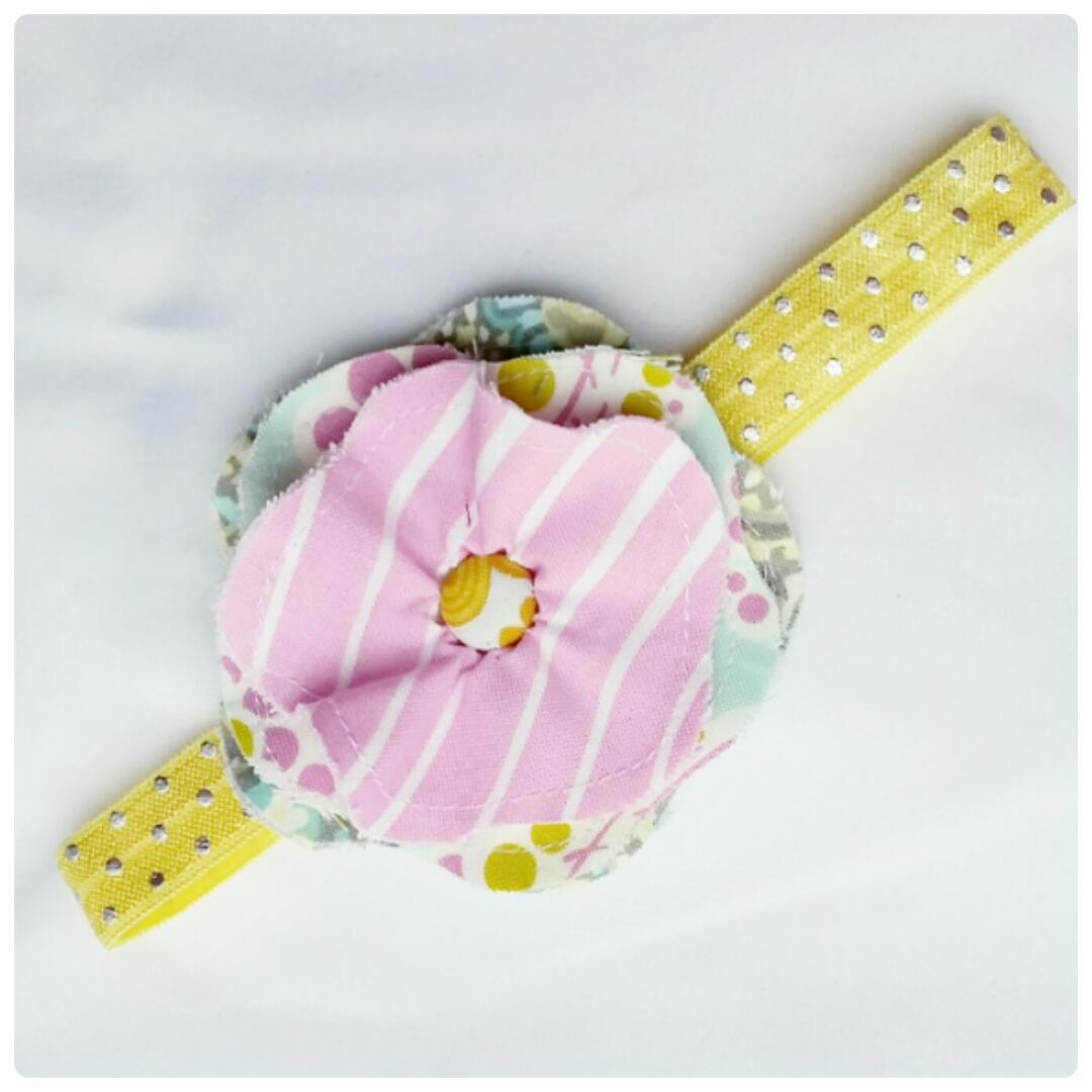 Pastel Pink And Yellow Handmade Flower Headband 6m To Toddler